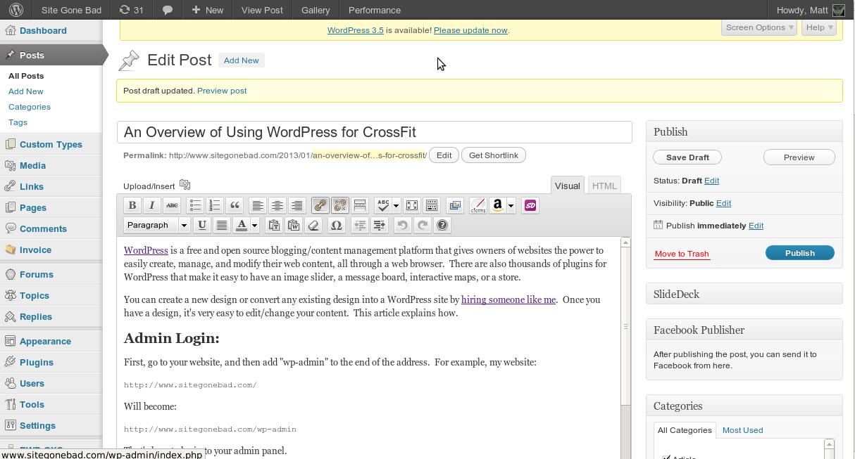 """Using WordPress for """"Elite-Fitness"""""""